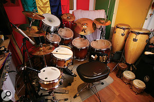 The Sanctuary drum kit is permanently set up with 16 mics ready to go.