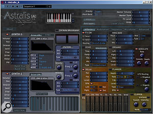 As can be seen from the screenshot, Astralis offers plenty of controls to the user. The right–hand side of the interface window is tabbed into five sections (Effects, Modulation, Sequence, Microtuner and Advanced) to provide access to the full range of controls. Of Astralis A's two synths, one always uses a Dual Oscillator, while the other can use either a Spectral Oscillator (as shown) or a Dual Oscillator. The Dual Oscillator features a range of waveforms, various modes for mixing the two oscillators, and real–time modulation.