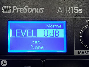 The subwoofer's DSP options include flat-response ('Normal') and LF boost modes, polarity inversion, delay, and cardioid array configurations (when used in pairs).