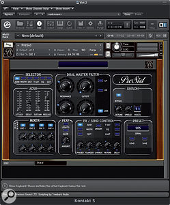 PreSid's Global page enables filter and envelope control over all four oscillators.