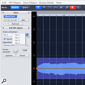 It's now possible to edit multiple objects from different tracks in the Elastic Audio editor.