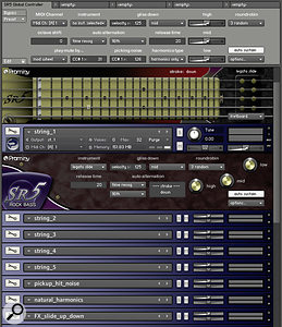 The full SR5 bass guitar, showing the new Global GUI tool, fretboard monitor, the performance view for the 'string 1' main instrument, the remaining main instruments (minimised) and the first few 'add‑on' instruments.
