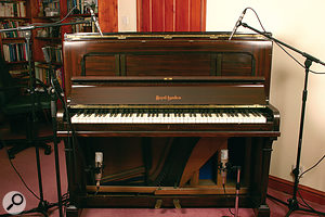 If a piano sounds good to the player, it's worth trying the recording from just either side of their position, placing the microphones 600 to 800 mm apart. However, it's also common practice to open the lid of the piano and place the mics above the exposed strings at that same distance apart.