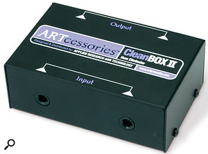 A transformer-isolating DI box such as the ART Cleanbox II can be a cost-effective solution to ground-loop hum.