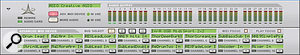 Reason's Hardware Interface is the key to using up to four external hardware controllers to control the devices in the Reason rack. Devices are chosen for each MIDI input bus using pop-up menus accessed by the arrow button under each channel 'LCD'.