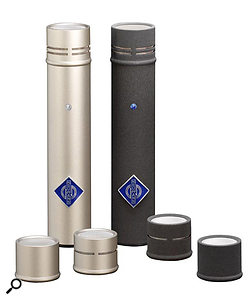 Many small-diaphragm mics are sold with interchangeable capsules. When selecting pairs of such mics, it's the capsules that need to be matched — the preamp 'bodies' of such mics are usually quite closely matched in any case, and not only on high-end models such as those pictured.