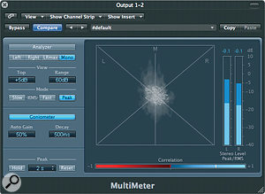 Logic Pro's Multimeter plug‑in has aGoniometer display to assist with stereo balance while mixing, and various third‑party stereo monitoring and manipulation alternatives are also available.