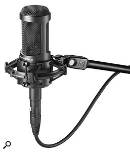 A multi‑pattern mic, like the Audio‑Technica AT2050 shown here, provides a relatively inexpensive way to try out different polar patterns. If you already have a cardioid mic, you could use the two in conjunction to start experimenting with stereo miking techniques.