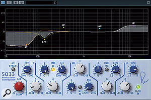 The Portico 5033 plug-in lacks the original's high- and low-pass filters, but does boast a useful graph showing filter response.