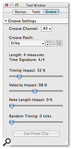 The mix of timing and dynamics from a template is set in the Tool Window.