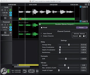 The Doubler process automatically generates a double-tracked vocal from just a guide track, and allows the user to configure how tight the tracking is. Note the green bar at the base of the guide track that defines the selection over which processing will take place.