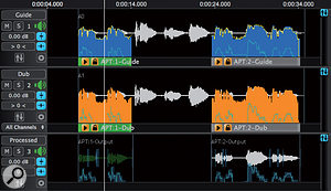 For more problematic cases, multiple processes can be defined, with different settings applied to particular sections of the audio.