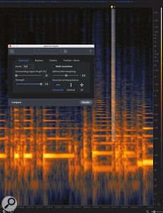Screen 2: Here, I've made aselection around one of the noise spikes, going down into the lower frequencies as far as possible. The Spectral Repair tool will be able to attenuate the noise without causing too much damage to the overall audio and Ican then remove the lower parts with the manual select tool. Asteady hand is advised!