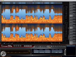 1: The stand-alone RX Advanced. Astereo audio file is loaded that has severe clipping distortion.