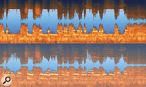 3: Here, you can see what the de-clipping process has done to the right-hand (lower) channel of the audio file.