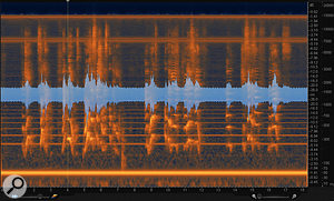5: In this case, changing the Spectrogram Setting to 'Adaptively sparse' has made the hum and its harmonics easier to pinpoint visually.