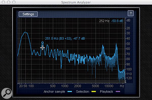 6: RX's spectrum analyser clearly shows the strength of the 50Hz hum that has been recorded, but also makes clear that the lower harmonics are not present — notch filters will be needed at 250Hz (the fifth harmonic) and 350Hz (the seventh) but not at 100Hz, 150Hz or 200Hz.
