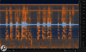 10: The same audio file after anumber of individual passes of the Remove Hum module to attenuate harmonics of the hum.