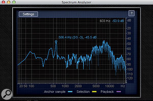 16: The Spectrum Analyser makes it easy to pinpoint the problem frequencies in the text alert.