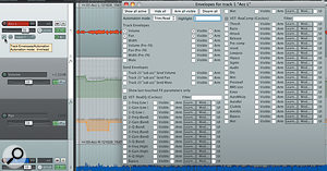 Volume and pan are armed for automation, but parameters for all plug -ins on the track are displayed.