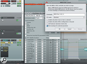The 'Acc R' track has some EQ controls shown in the track display, achieved by selecting 'UI' next to each relevant parameter in the automation window. MIDI Learn is set up by clicking the Learn button.