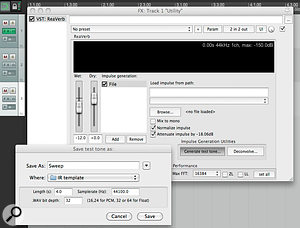 Creating a four-second sine-sweep test tone and saving it into the designated project folder. The Impulse Generation utilities are only visible when 'File' is selected in the Impulse Generation section of the plug-in.