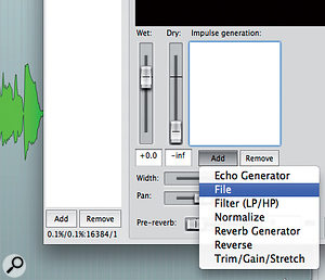 1: Loading an impulse response file into the ReaVerb plug-in.
