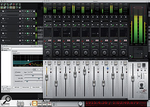 Picture 3: The Dark Side Imperial theme with the 'Master of the Universe' master track layout displayed on the right-hand side of the mixer, to show prominent peak and RMS meters.
