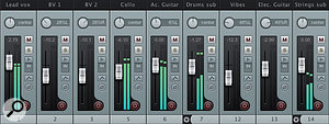 Having been placed in folders, the individual drum kit and strings tracks are compacted by clicking on the disclosure triangle on the channel strip of folder tracks seven and 14.