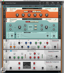 All the new devices in Reason Standard. There are two brand-new modulation effects, and rackmount versions of Reason's mixer processors.