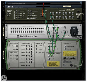 A typical vocoder patch, with a sampled vocal as the modulator, and a sawtooth wave synth patch as the carrier.