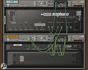 Neptune's separate voice synth outputs allow you to separate out your backing vocal signals for independent treatment. In this example, they're being treated by an RV7000 reverb, and the Mix device gives them a whole mixer channel of their own.