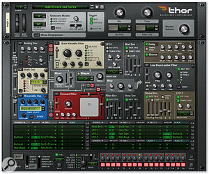 Thor lets you choose from numerous oscillator and filter types. The Thor device at the top has been completely stripped out, while the patch below uses a variety of different modules.