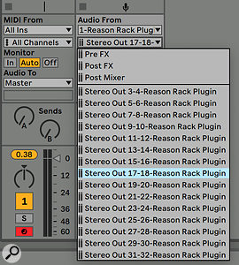 Screen 4. Reason plug-ins and their internal busses appear in the Audio From section in other tracks.