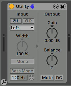 Screen 5. If you only want a mono bus from the plug-in, use Live's Utility device.