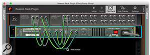 Screen 7. Live's Sidechain input selector on all plug-ins makes it easy to route a track into the Reason plug-in.