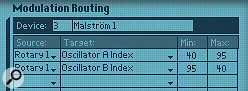 3: You can link arotary knob to multiple parameters — in this case the Index on both oscillators of aMalström.