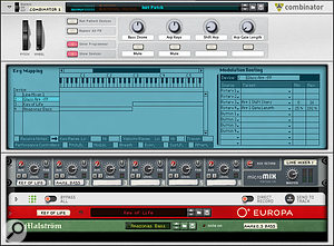 Screen 4. MIDI filtering and key mapping make the Combinator ideal for creating layered or split patches.