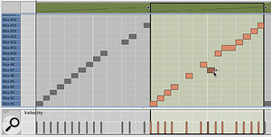 Slice events being edited in aDr OctoRex track following the use of the Copy Loop to Track button.