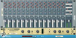 An alternative parallel compression configuration, using the Reason Mixer's pre‑fader aux send.