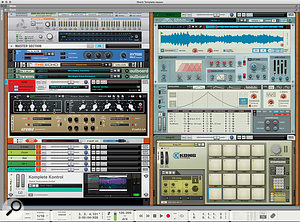 Screen2. My current starter template combines hardware synths and guitar with internal instruments.
