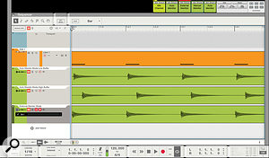 Screen4: A comparison of audio captured from a MIDI instrument with different monitoring modes and buffer sizes. External mode should record in time, without need for manual alignment.