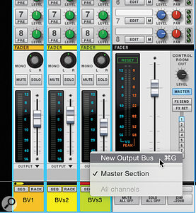1 & 2: Creating a  submix group in the Reason Mixer.