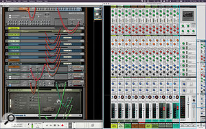 5: Using side-chaining and a  final submix bus to create the classic kick pumping sound.
