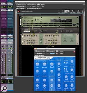 Screen 2. A Matrix step sequencer is patched to the MIDI Out, and is being used to play the FabFilter One synth on Track 2 in Pro Tools. The MIDI Out is also converting Rack CV from a dual LFO generator into MIDI CC messages.