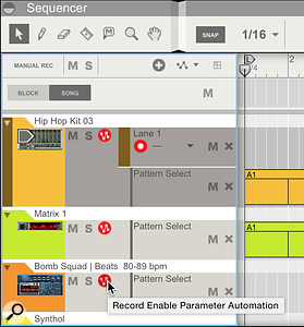 2: To capture pattern/loop changes on multiple devices arm Automation recording on each track.