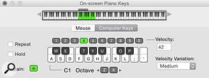 3: The On-screen Piano Keys window in Computer Keys Mode.