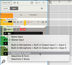 Screen 3: To record Maschine to audio tracks, enable its mixer channels as 'Rec Sources' and select them as track inputs.