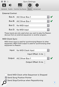 2: MIDI Settings in Reason. Clock is being sent to Reaktor, and MIDI received.