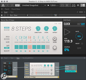3: A simple Reaktor patch for sequencing Reason from Blocks.